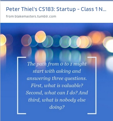 #startup ideas from Peter Thiel