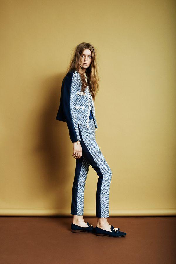Louis Vuitton Resort 2014 tweed blue suit loafers