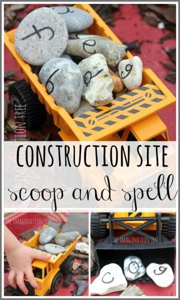 Construction site alphabet rocks activity #preschool #alphabet #trucks