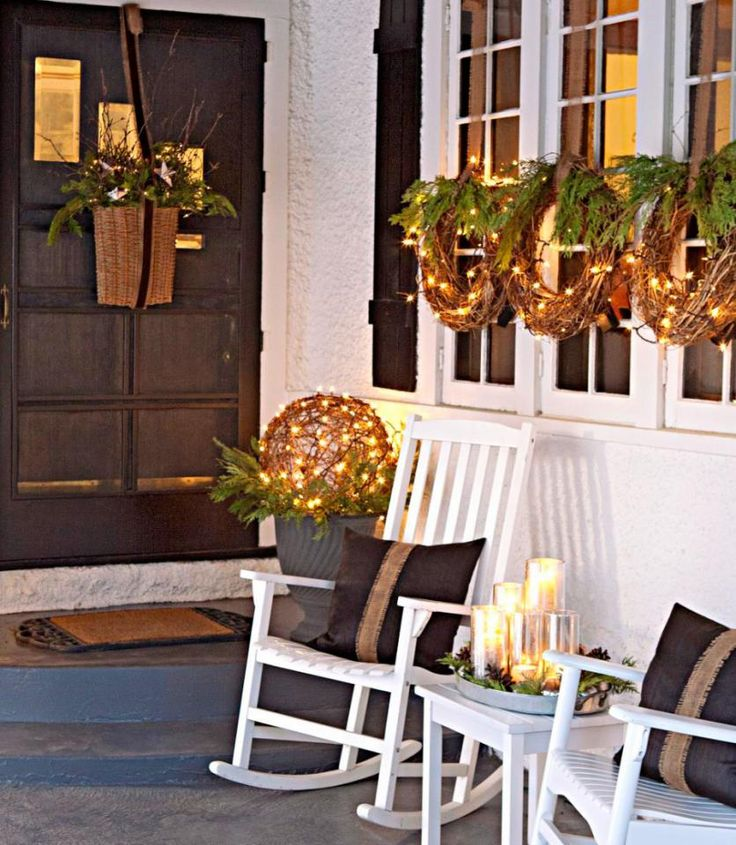 Easy Front Porch Holiday Decorations | Midwest Living - love the grapevine sphere on greens in an outdoor pot - nice!