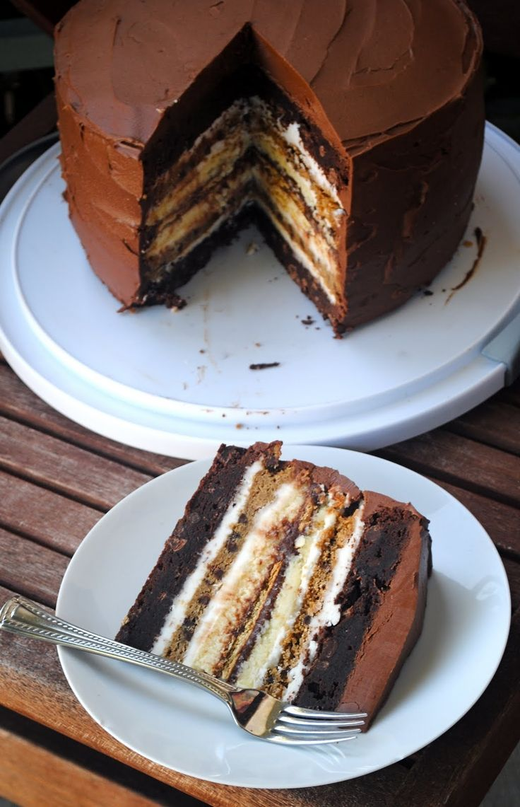 {holy crap} 7 layer goodness with Brownie, cookie, cheesecake and graham cracker