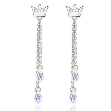 Amazon.com: Silver Swarovski Princess Crown and Fashion Crystal Dangle Charm Earrings @BGJewel #disney #fairytales #princess #jewelry #accessories