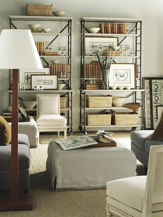 Beautiful Chic Living Room & Bookcases & the accessorizing!!  Prado bookcase by Suzanne Kasler, Hickory Chair