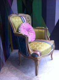 Little French chair with Cole & Son's fab geometric wallpaper