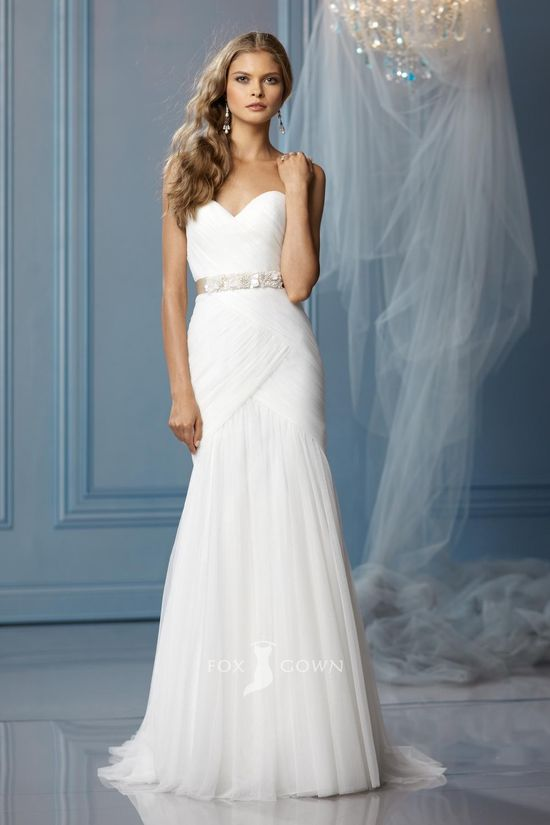 simple strapless sweetheart a-line ruched wedding dress with beaded sash
