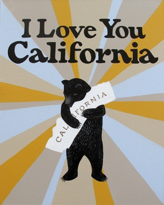 """I Love You California"" Starburst Print by 3 Fish design studios in SF.  Browse their amazing collection on thier site, at www.3fishstudios.com.  They also offer printmaking clasees!"