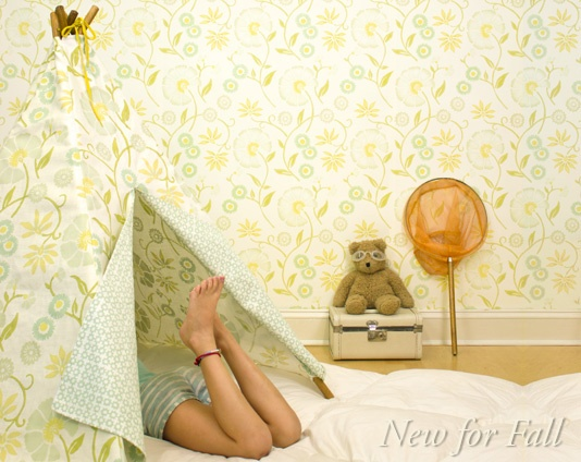 clever teepee made of same fabric as the wallpaper