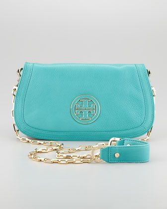 Amanda Logo Clutch, Turquoise by Tory Burch at Neiman Marcus.