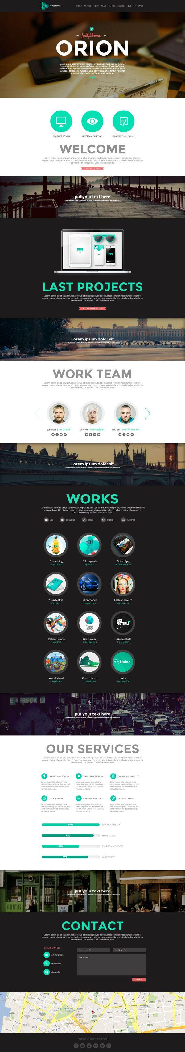 Orion - Responsive One Page WordPress Template by Zizaza - design ocean , via Behance.