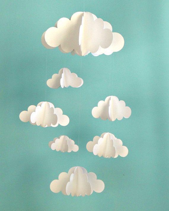 diy mobile nuage 3d en papier cmachambre le blog qui p tille. Black Bedroom Furniture Sets. Home Design Ideas