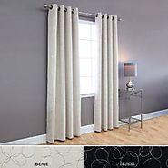 """Flower Foil Printed Blackout Grommet Curtain 52x95"""" L - Beige - OQ"""