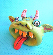 Creative Ceramic Pinch Pot Ideas & Lessons | Rainbow Monster with an Open Mouth Original Folk Art sculpture
