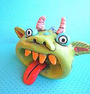 Rainbow Monster with an Open Mouth Original Folk Art sculpture