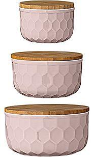Bloomingville Ceramic Bowl Set with Bamboo Lids