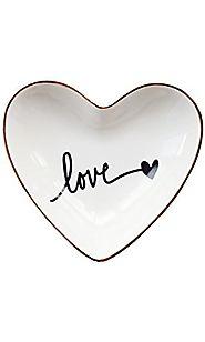Ceramic Heart Shape Jewelry Dish Holder