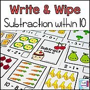 Subtraction Write and Wipe: Subtraction within 10 by Mercedes Hutchens