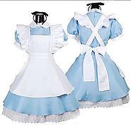 Details about Alice In Wonderland Costume Cosplay Women Girl Maid Fancy Dress Lolita 4 Size