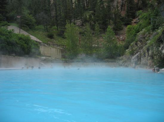 Radium Hot Springs, BC, with mountain in background