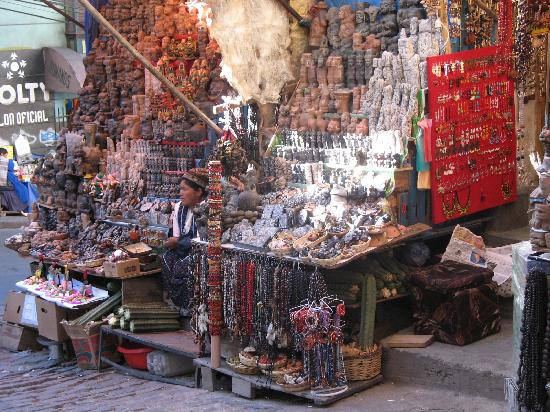 bolivia - a stall selling trinkets