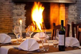 Fireplace in restaurant Thulia - Picture of Ounasvaaran Pirtit, Rovaniemi