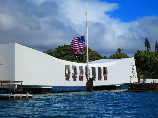 Image result for flag at pearl harbor memorial images