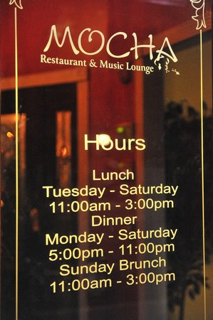 Mocha Hours of Operation - Picture of Mocha Restaurant and ...