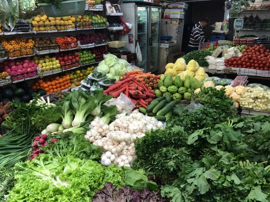 display of exotic vegetables and fruits