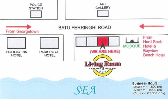 Living Room Cafe Bar Gallery Batu Ferringhi Menu