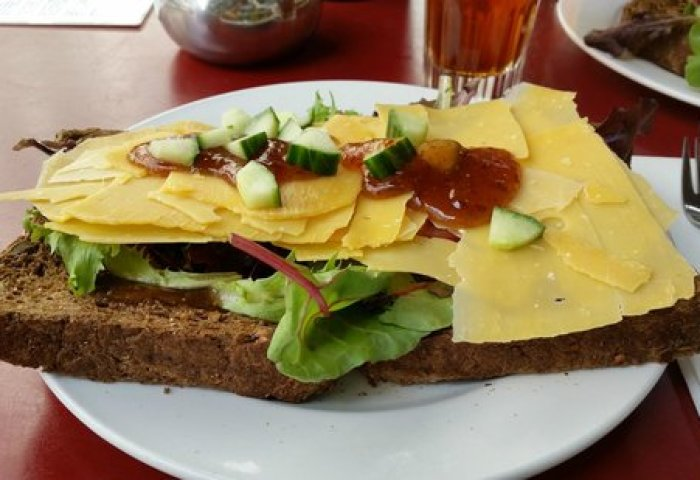Tasty Aged Cheese And Fig Sandwich On Black Bread Picture Of