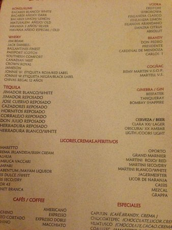 Drink Menu Picture Of Valentin Imperial Riviera Maya