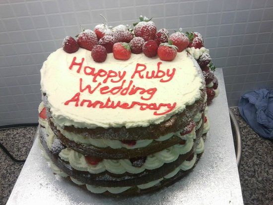 Fresh cream ruby wedding anniversary cake personally delivered to     Scott s Cake Shop  Fresh cream ruby wedding anniversary cake personally  delivered to happy couple in