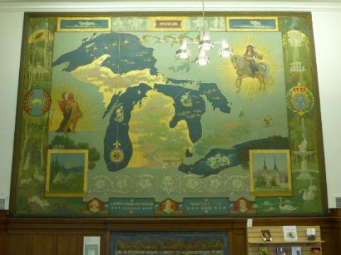 Pictorial map of Michigan   Picture of Detroit Public Library     Detroit Public Library  Pictorial map of Michigan