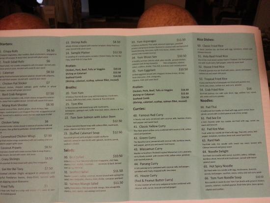 Siam Lotus Asian Kitchen Bar Menu