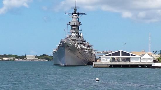 USS MISSOURI MOORED UP RIVER FROM THE ARIZONA MEMORIAL ...