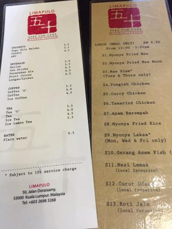 Image result for limapulo menu