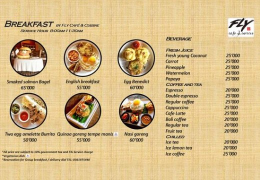 Fly Cafe breakfast Menu   Picture of Fly Cafe   Cuisine  Ubud     Fly Cafe   Cuisine  Fly Cafe breakfast Menu