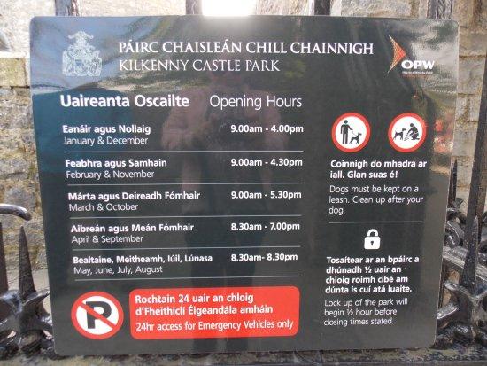 Opening hours - Picture of Kilkenny Castle, Kilkenny ...
