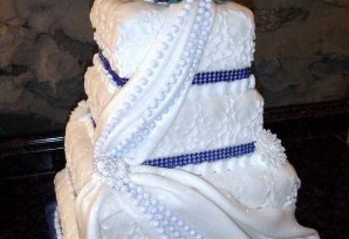 Fondant Wedding Cake In Royal Blue Picture Of Merrys Custom