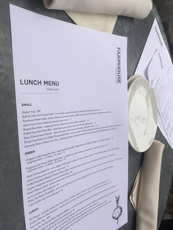 lunch menu picture of farmhouse at