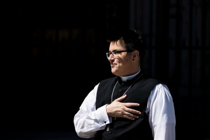Bishop Megan Rohrer speaks before the installation ceremony at Grace Cathedral in San Francisco on Sept. 11, 2021. Rohrer is the first openly transgender person elected as bishop in the Evangelical Lutheran Church of America.