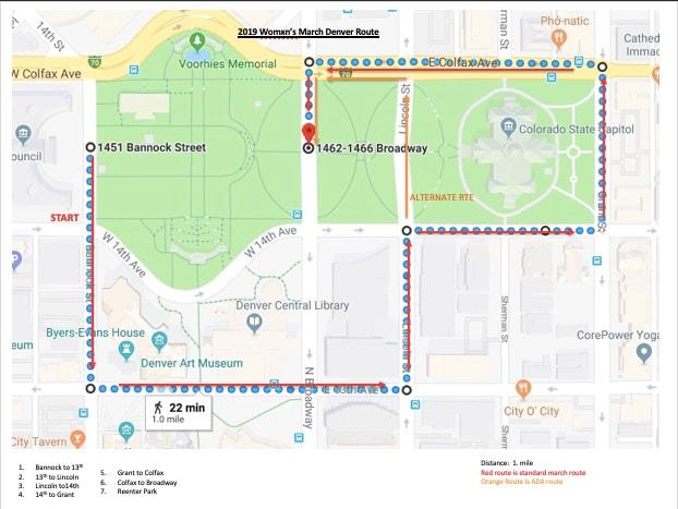 Womens March Denver Route