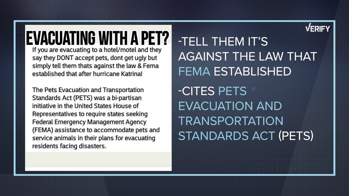 hurricane viral hoaxes pet shelter evacuation requirement alice minium