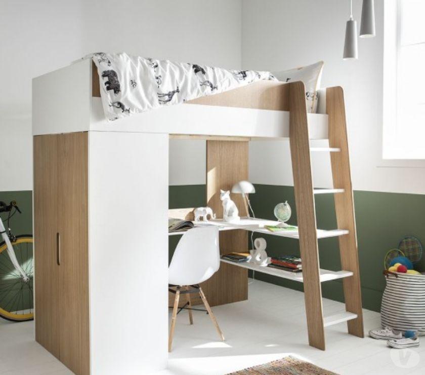 lit mezzanine a bureau et armoire