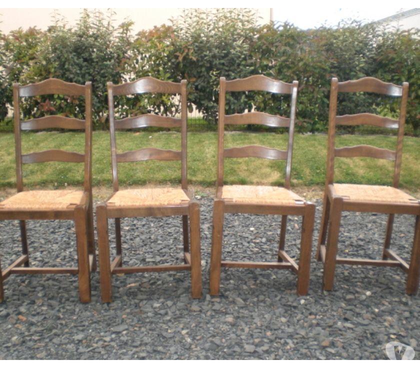 lot 4 chaises bois paille noyers