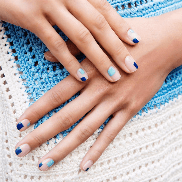 The blues more your tune? Great; turn 'em up with these random squares created by manicurist Alicia Torello at Novis. The shades used: Christian Louboutin in Batignolles and Wherever.