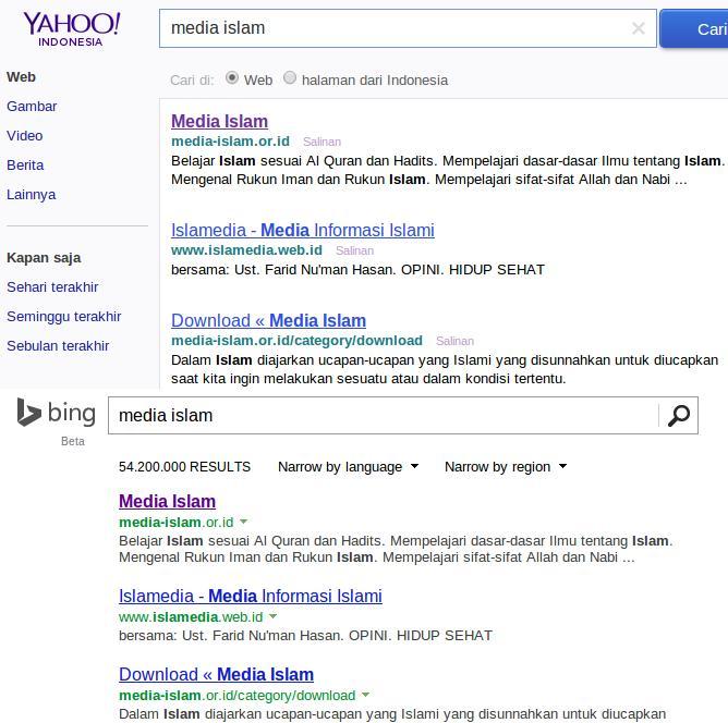 Media Islam Bing dan Yahoo