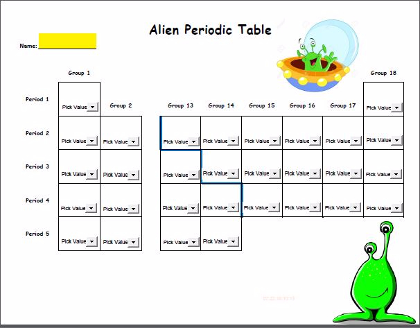 my favorite alien periodic table activity answers. Black Bedroom Furniture Sets. Home Design Ideas