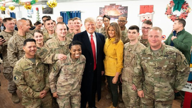 Image result for Trump % First lady visited Troops in Iraq