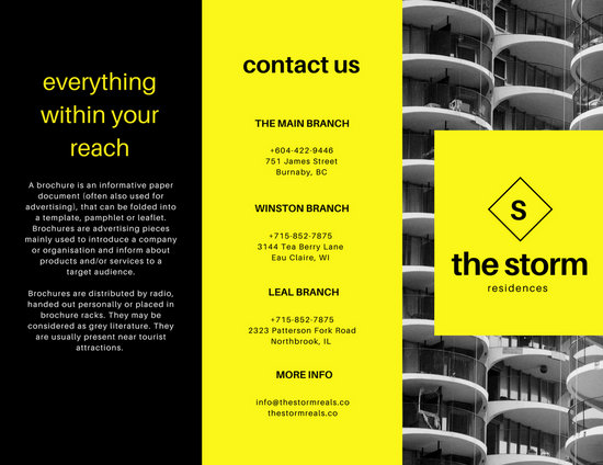 Yellow And Black Real Estate Tri Fold Brochure Templates
