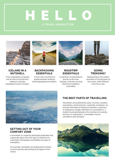 Mint Green And White Travel Newsletter Templates By Canva